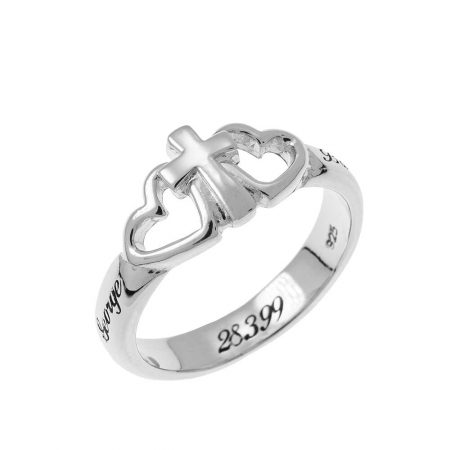 Hearts and Cross Promise Ring