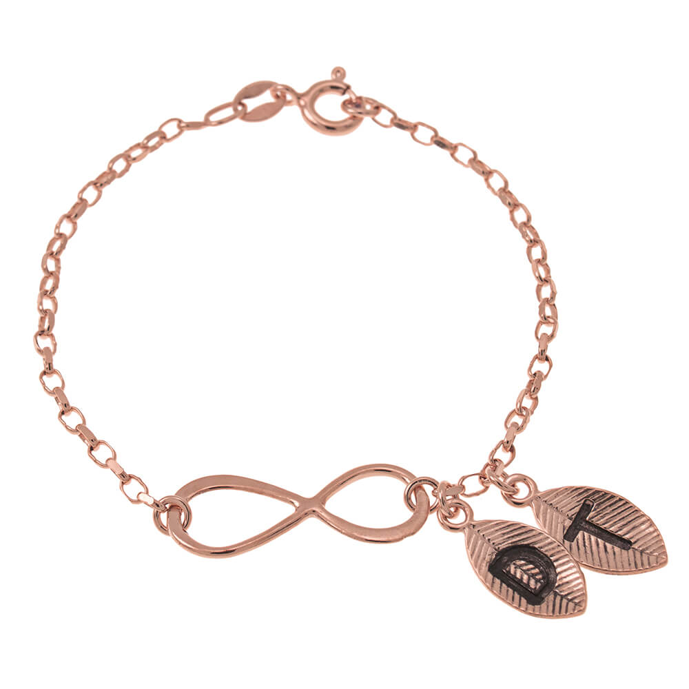 Infinity and Leaves Bracelet rose gold