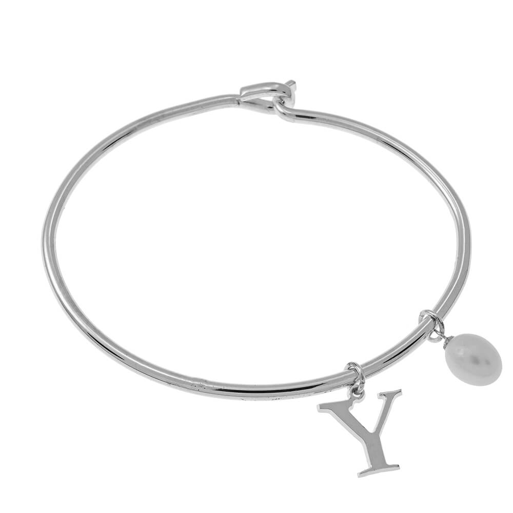 Initial Bangle with Pearl silver