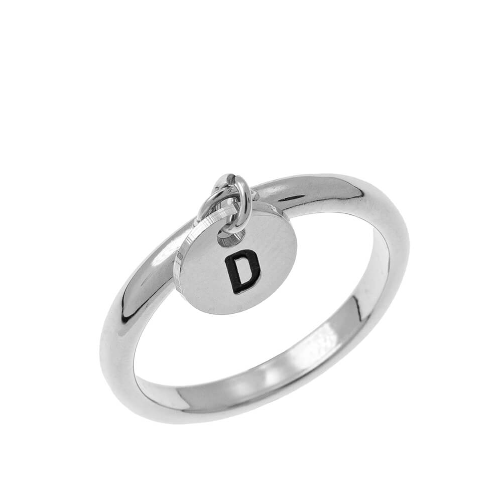 Initial Disc Charm Ring silver