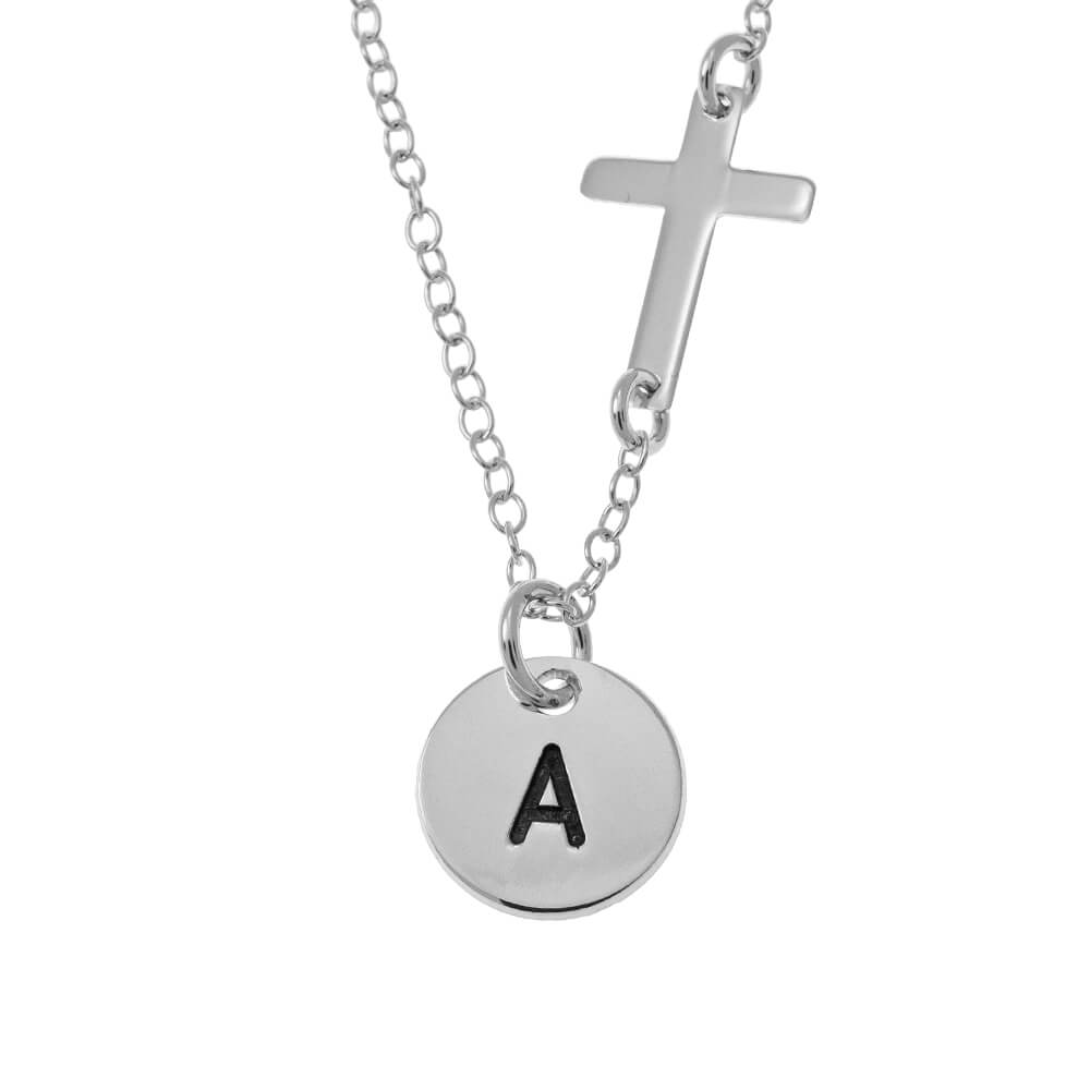Initial Disc and Cross Necklace silver