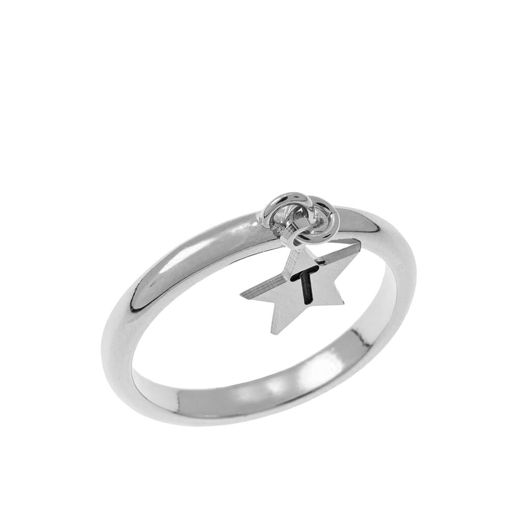 Initial Star Charm Ring silver