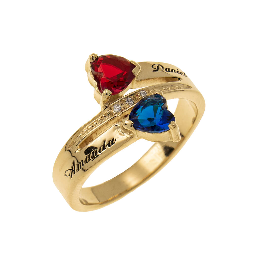 Inlay Double Heart Birthstone Promise Ring gold