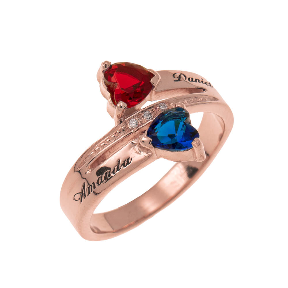 Inlay Double Heart Birthstone Promise Ring rose gold