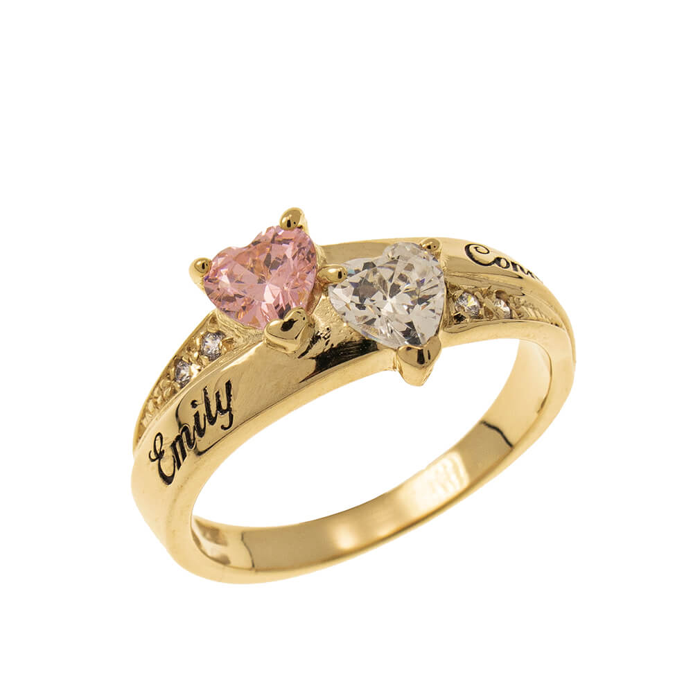 Inlay Double Heart Birthstone Ring gold