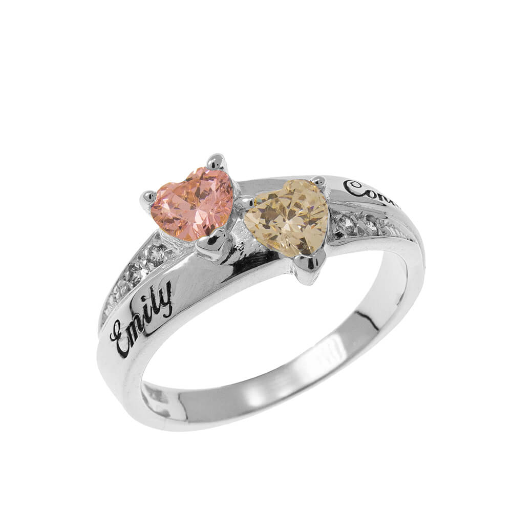Inlay Double Heart Birthstone Ring silver
