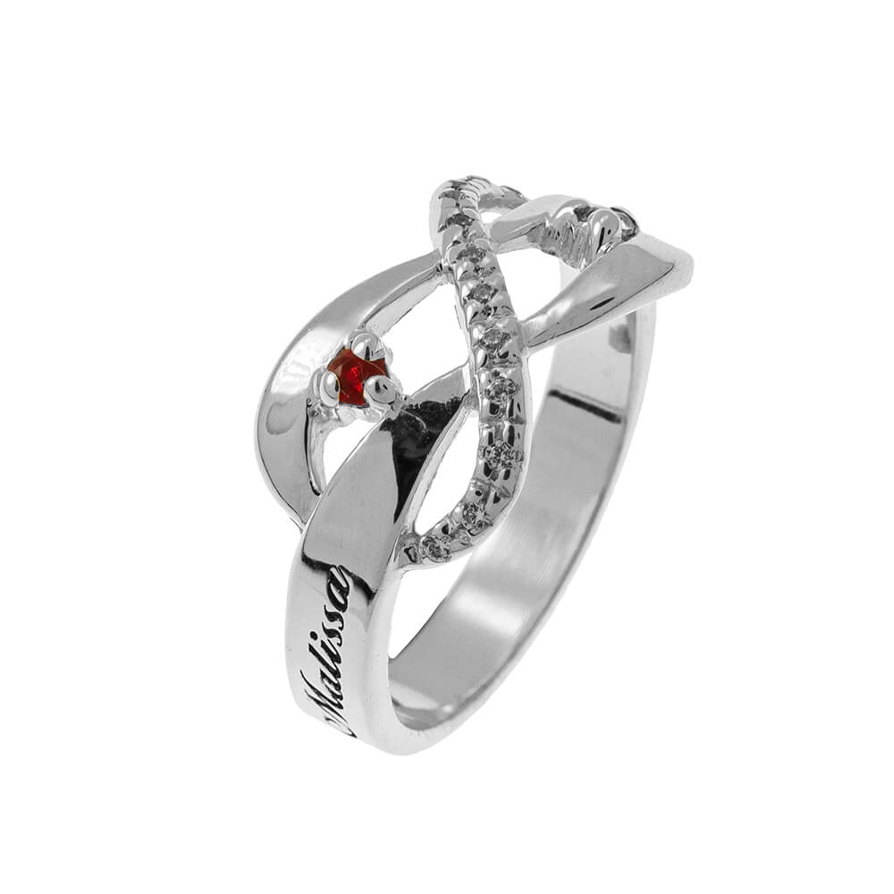 Inlay Infinity Ring with Birthstones silver 2