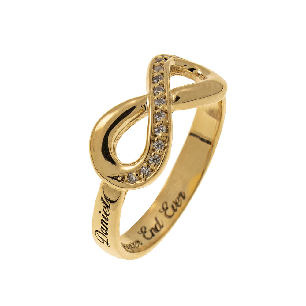 Inlay Infinity Ring with Engraving gold 2