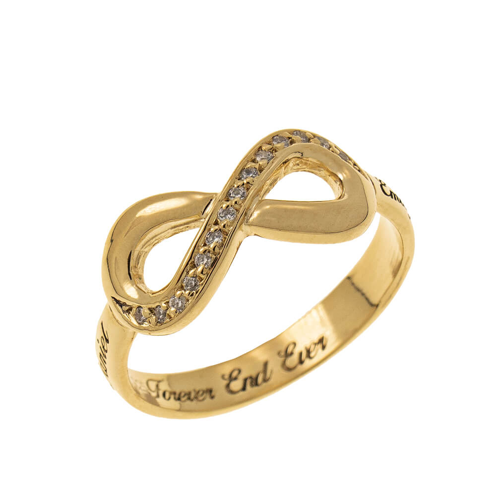 Inlay Infinity Ring with Engraving gold