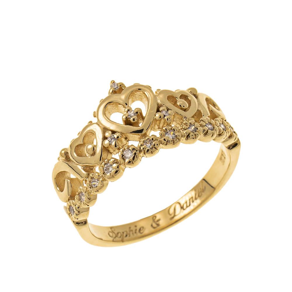 Inner Engraving Crown Ring gold