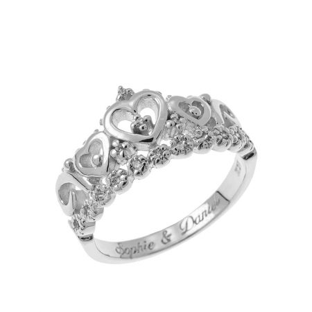 Inner Engraving Crown Ring