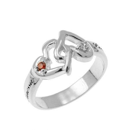 Interlocking Birthstones Hearts Ring