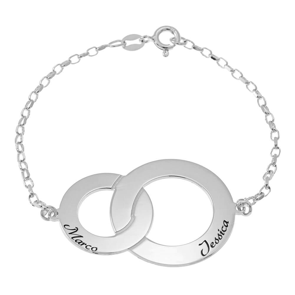 Interlocking Circles Bracelet with Names silver