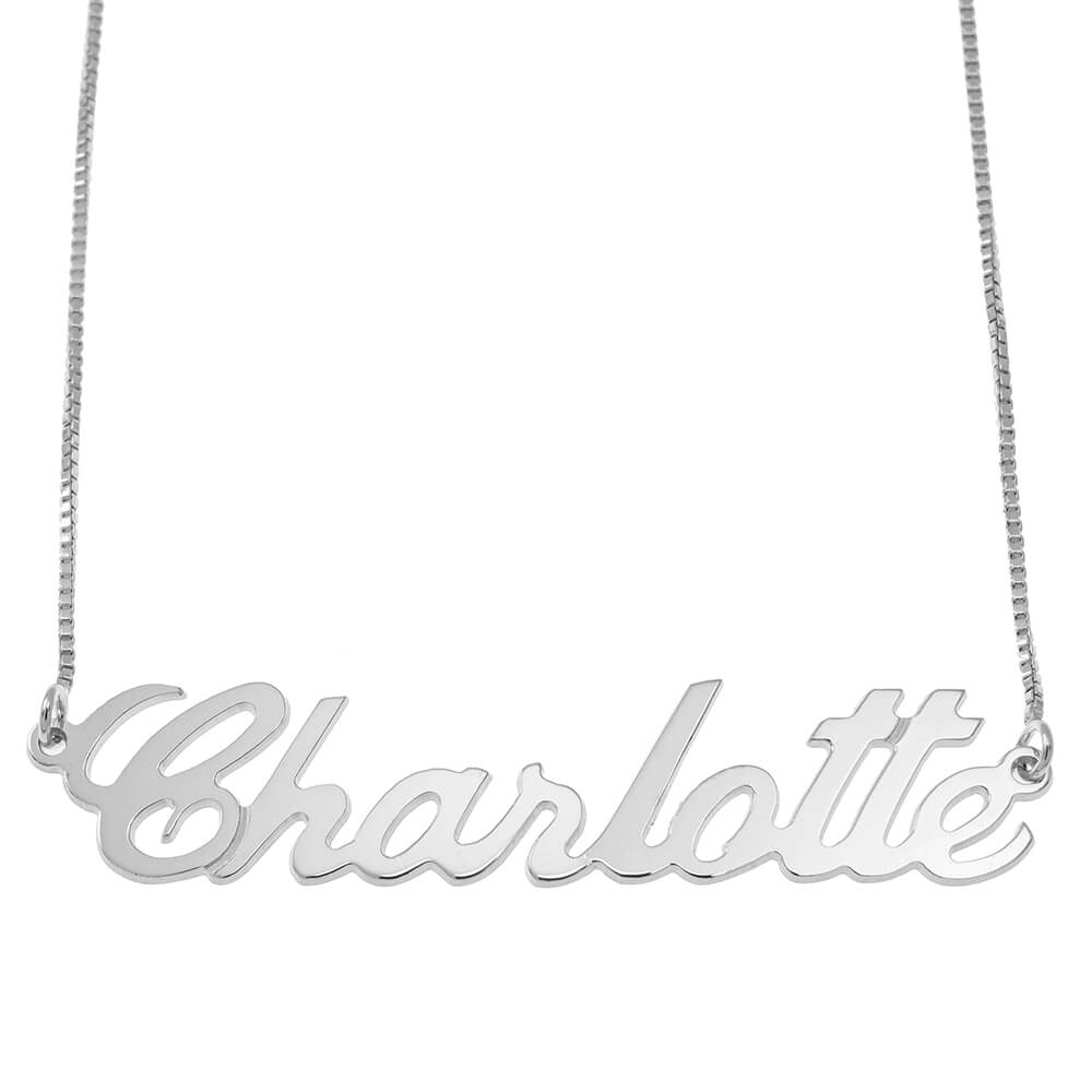 Justin Style Box Name Necklace silver
