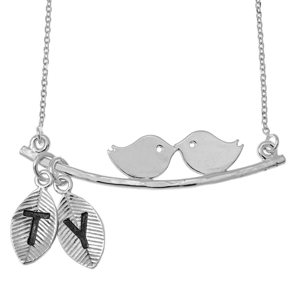 Love Birds Necklace With Leaves silver
