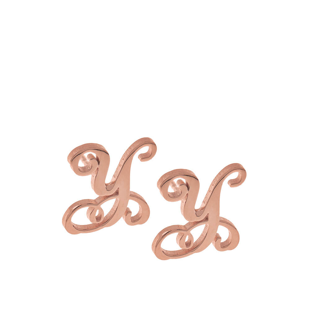 Monogram Stud Earrings rose gold