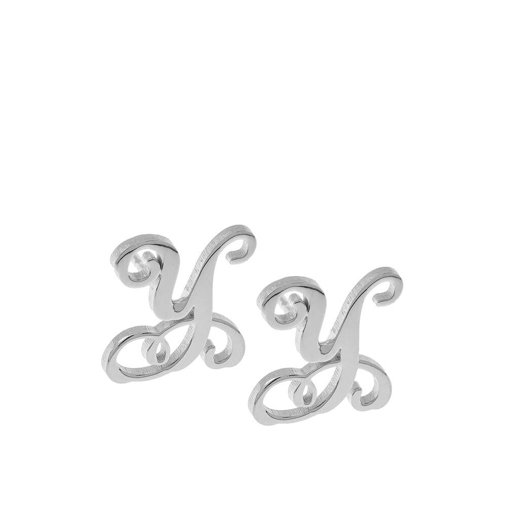 Monogram Stud Earrings silver