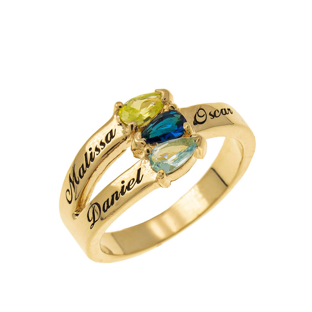 Mothers' Ring with Three Birthstones gold