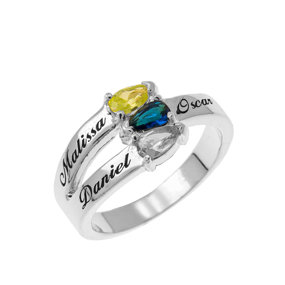 Mothers' Ring with Three Birthstones silver