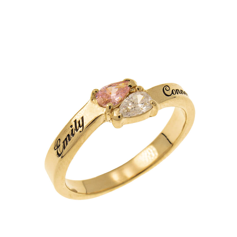 Mothers' Ring with Two Birthstones gold