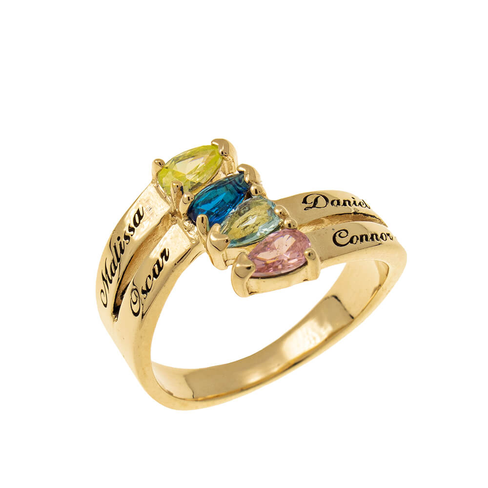 Mothers' Ring with four Birthstones gold