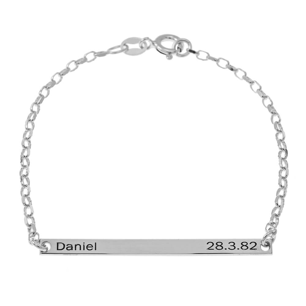 Name and Date Plate Bracelet silver
