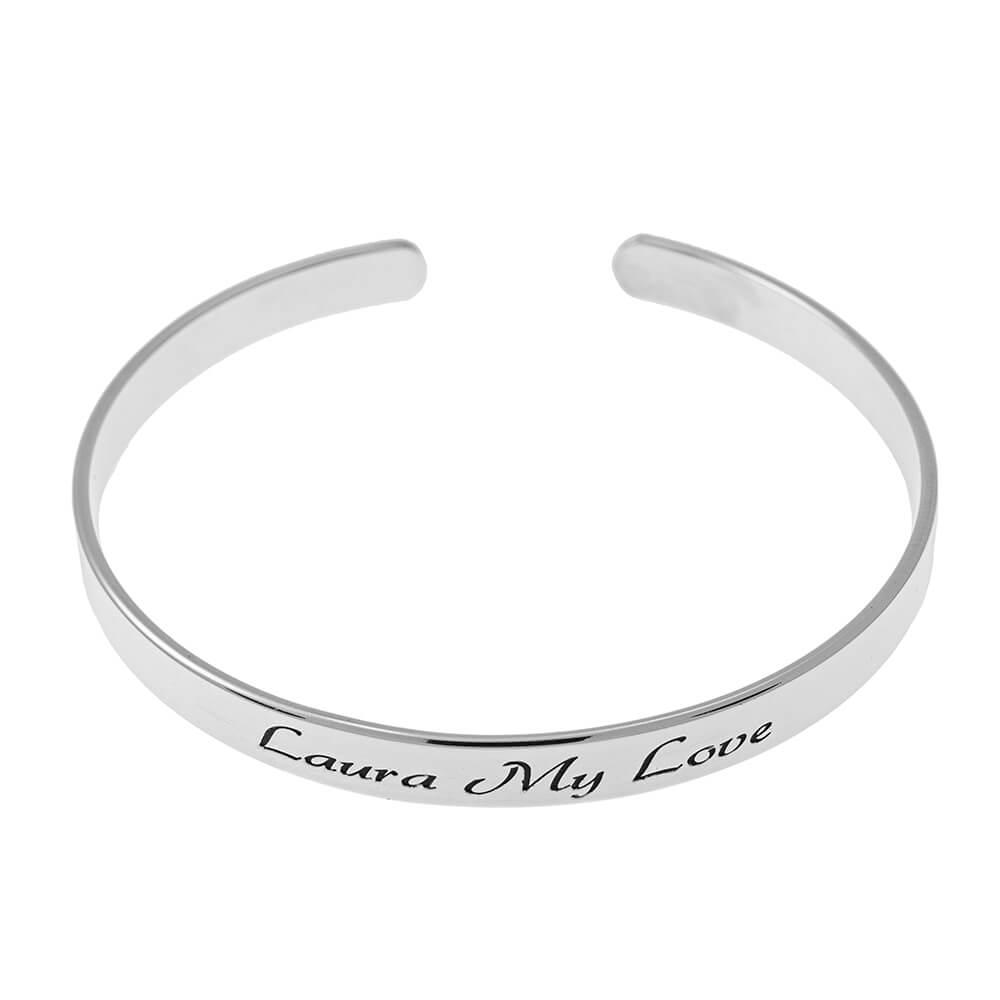 Open Name Bangle Bracelet silver