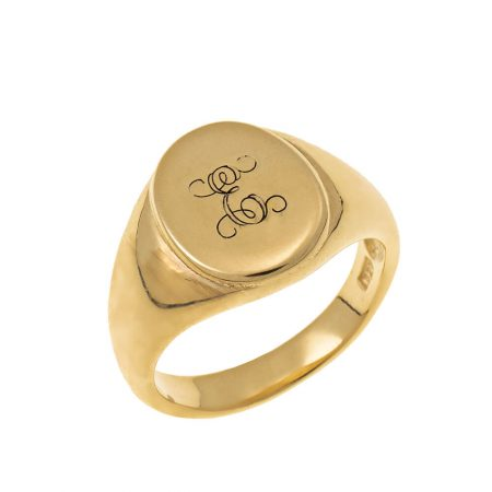 Oval Signet Ring with Monogram