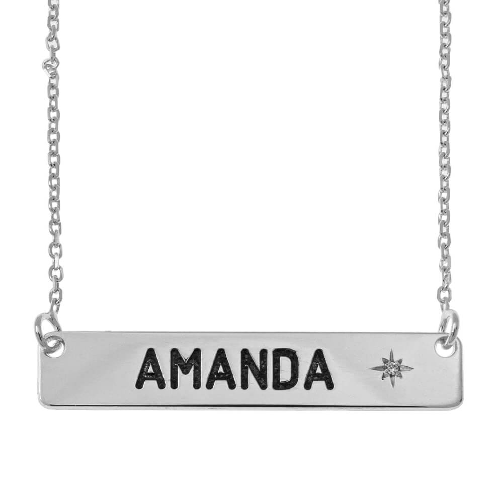Personalized Bar Necklace with Birthstone silver