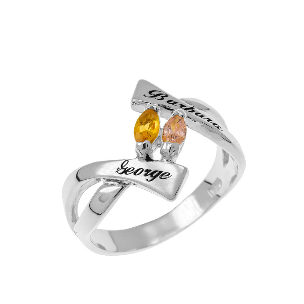 Personalized Birthstones Ring silver