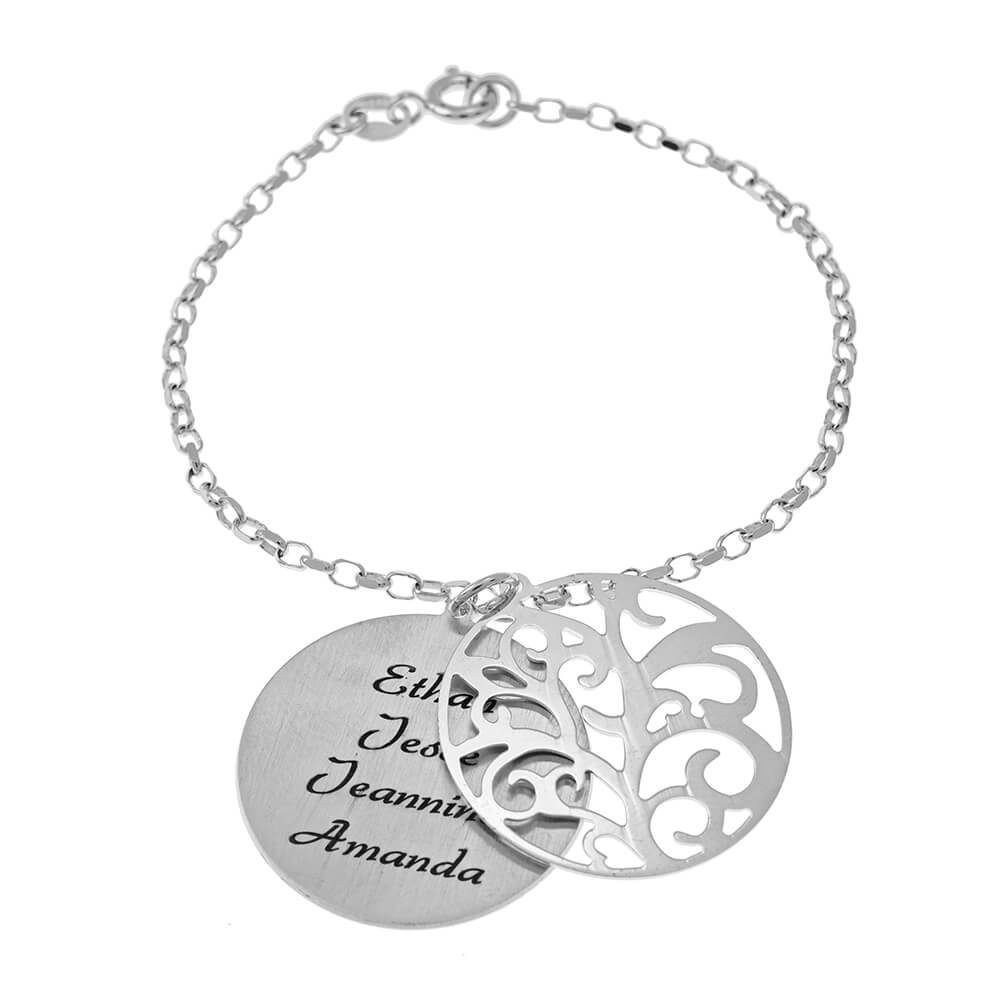 Personalized Double Layer Family Tree Bracelet silver