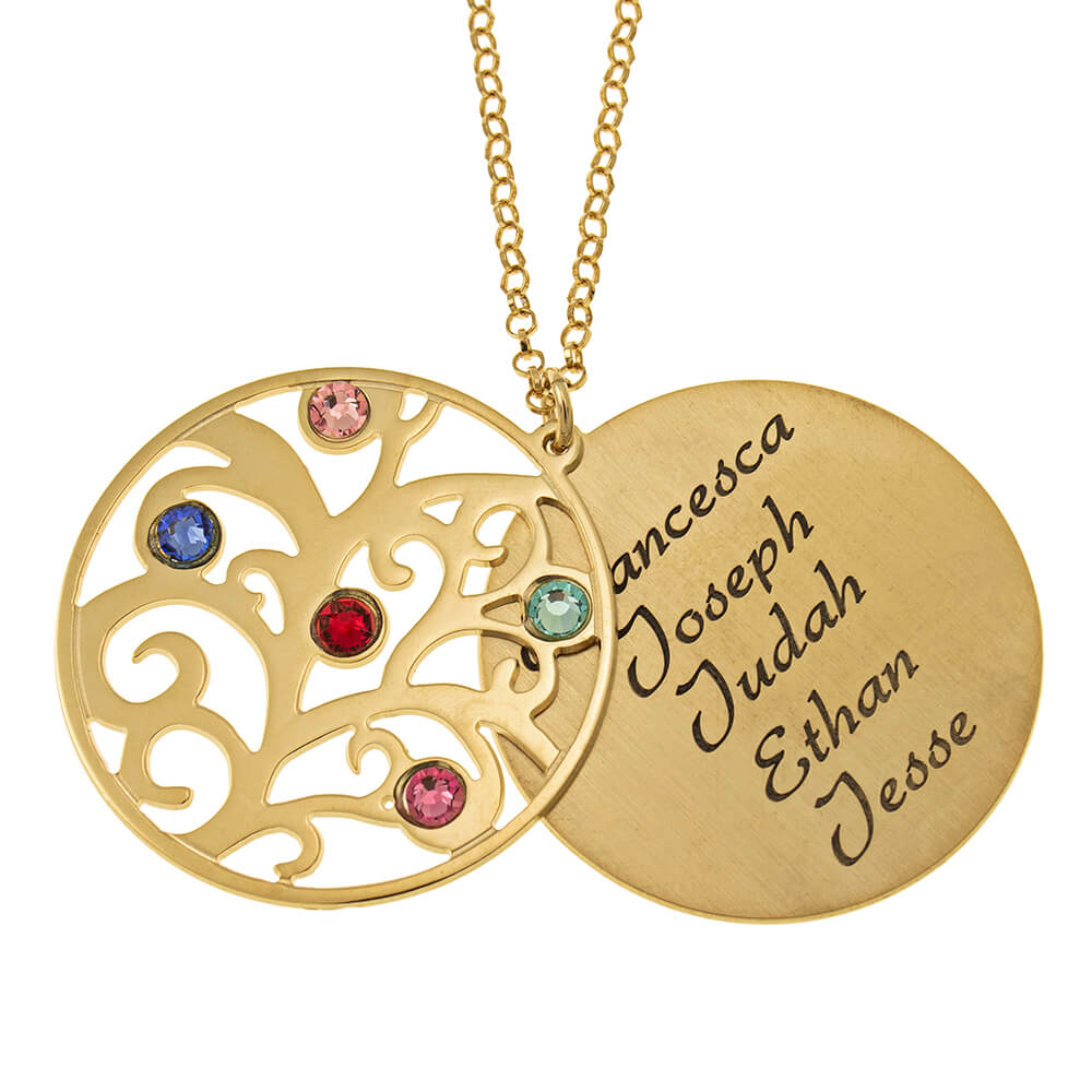 Personalized Double Layer Family Tree Necklace gold 1