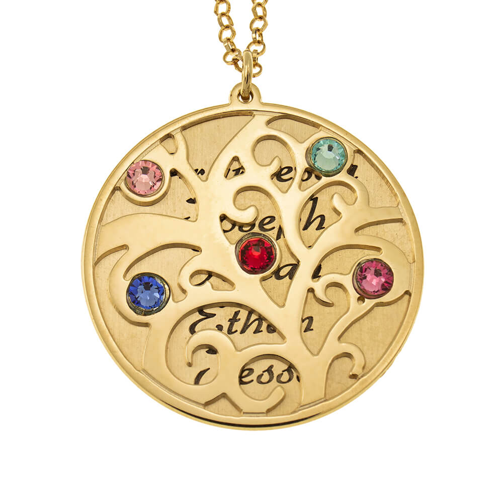 Personalized Double Layer Family Tree Necklace gold