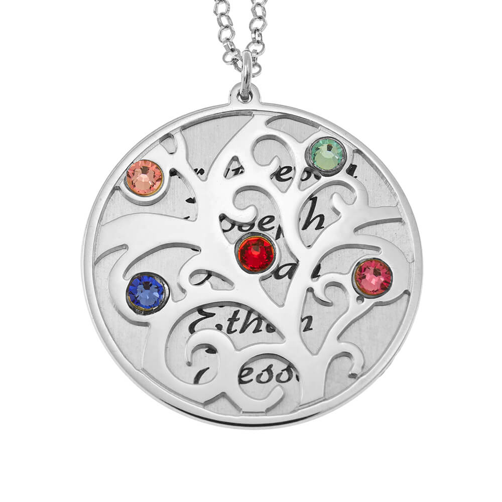 Personalized Double Layer Family Tree Necklace silver