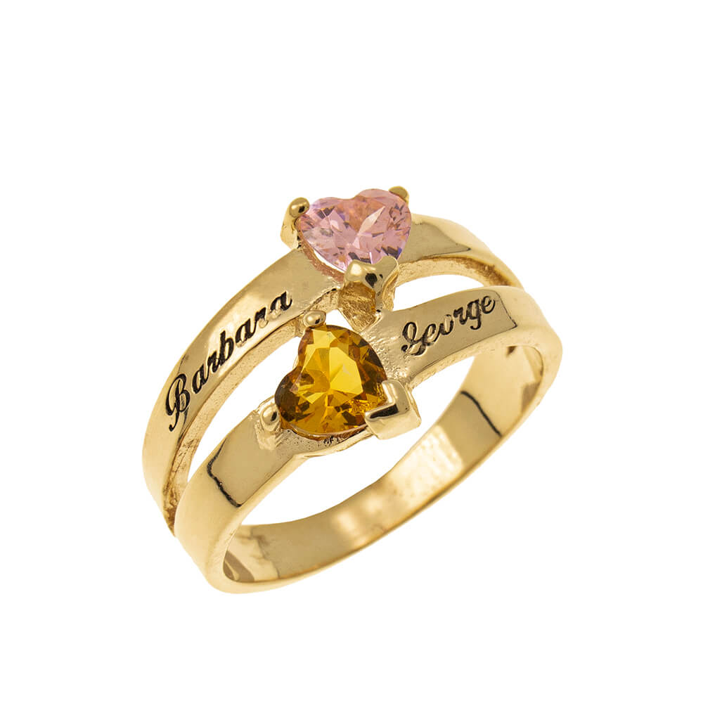 Personalized Heart-Shaped Birthstone Ring gold