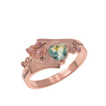 Promise Double Heart Birthstone Ring