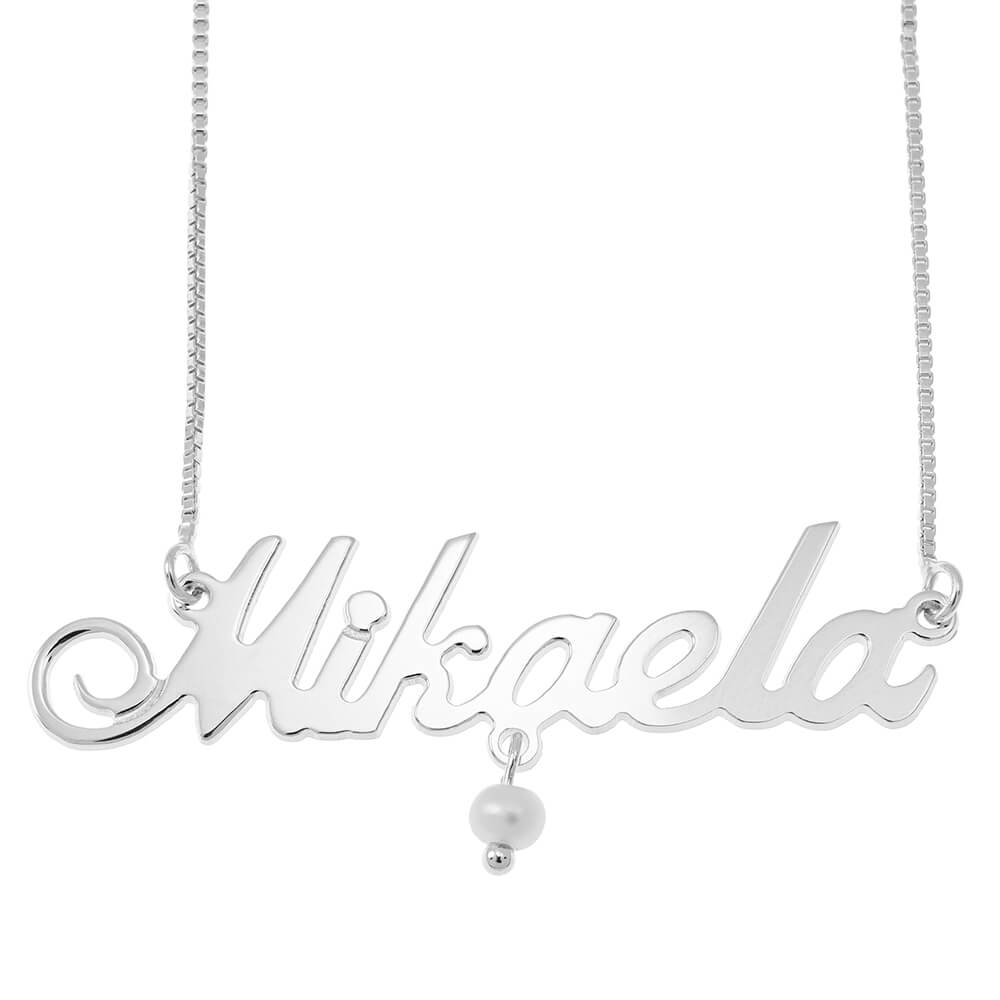 Small Classic Box Name Necklace with Pearl silver