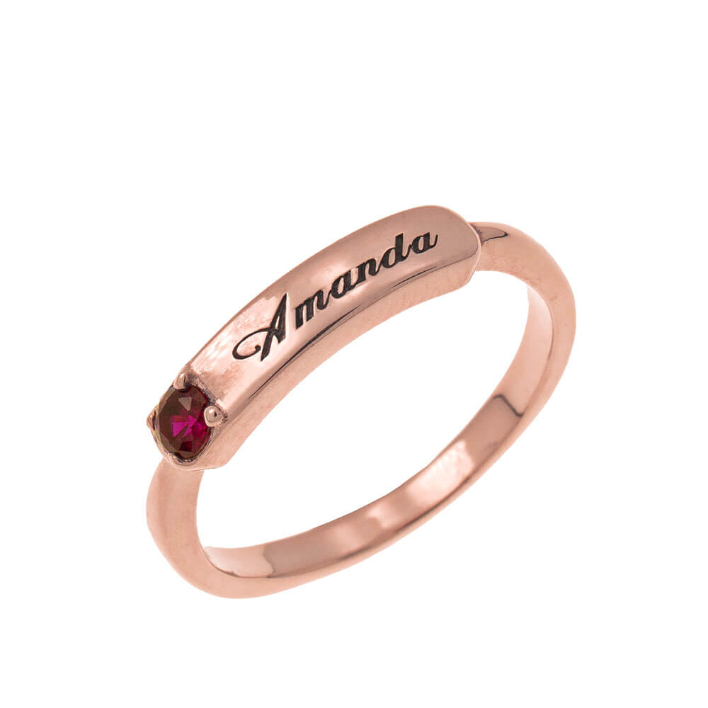 Small Nameplate Ring With Birthstone rose gold