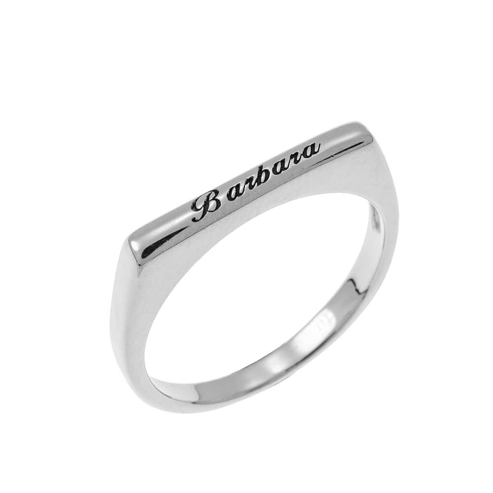 Stackable Rectangular Name Ring silver