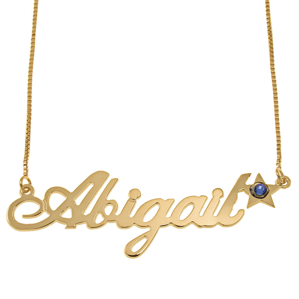 Star Classic Box Name Necklace gold
