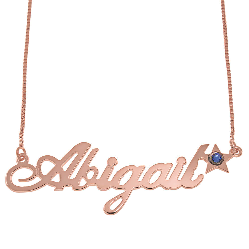 Star Classic Box Name Necklace rose gold