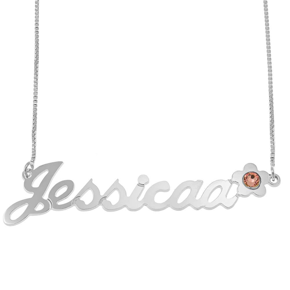Swarovski Flower Classic Box Name Necklace silver