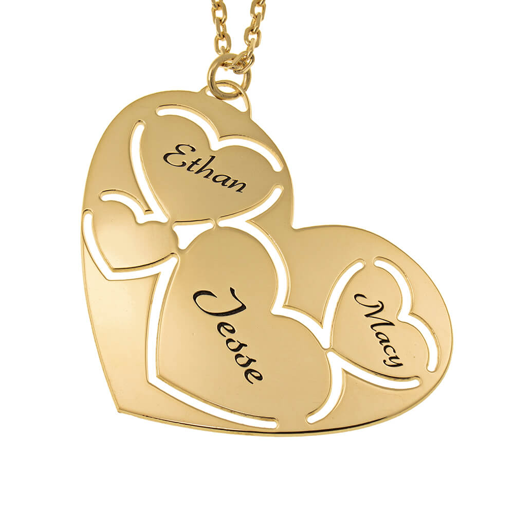 Three Names in Heart Necklace gold
