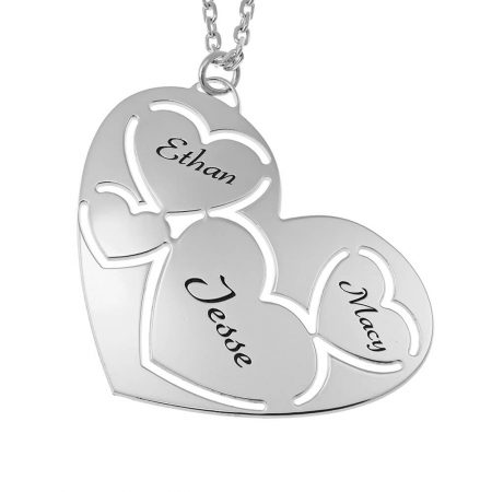 Three Names in Heart Necklace