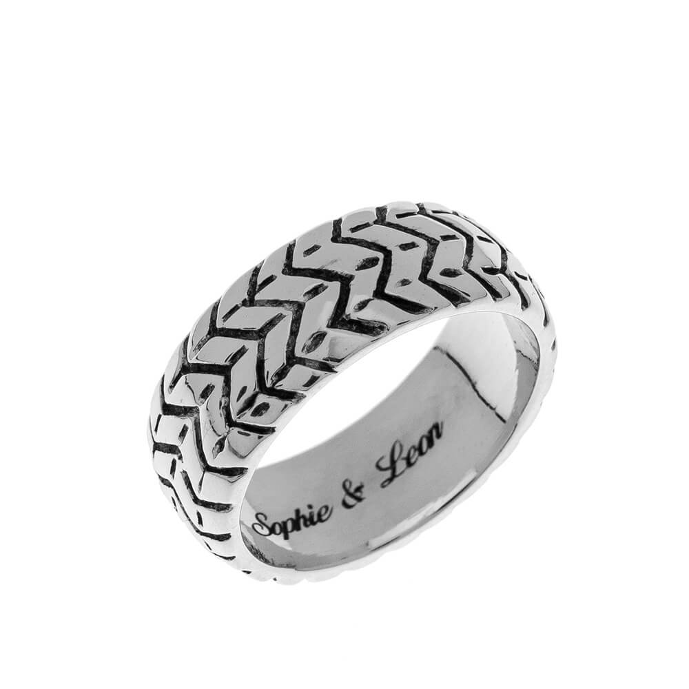 Tyre Engraved Ring silver