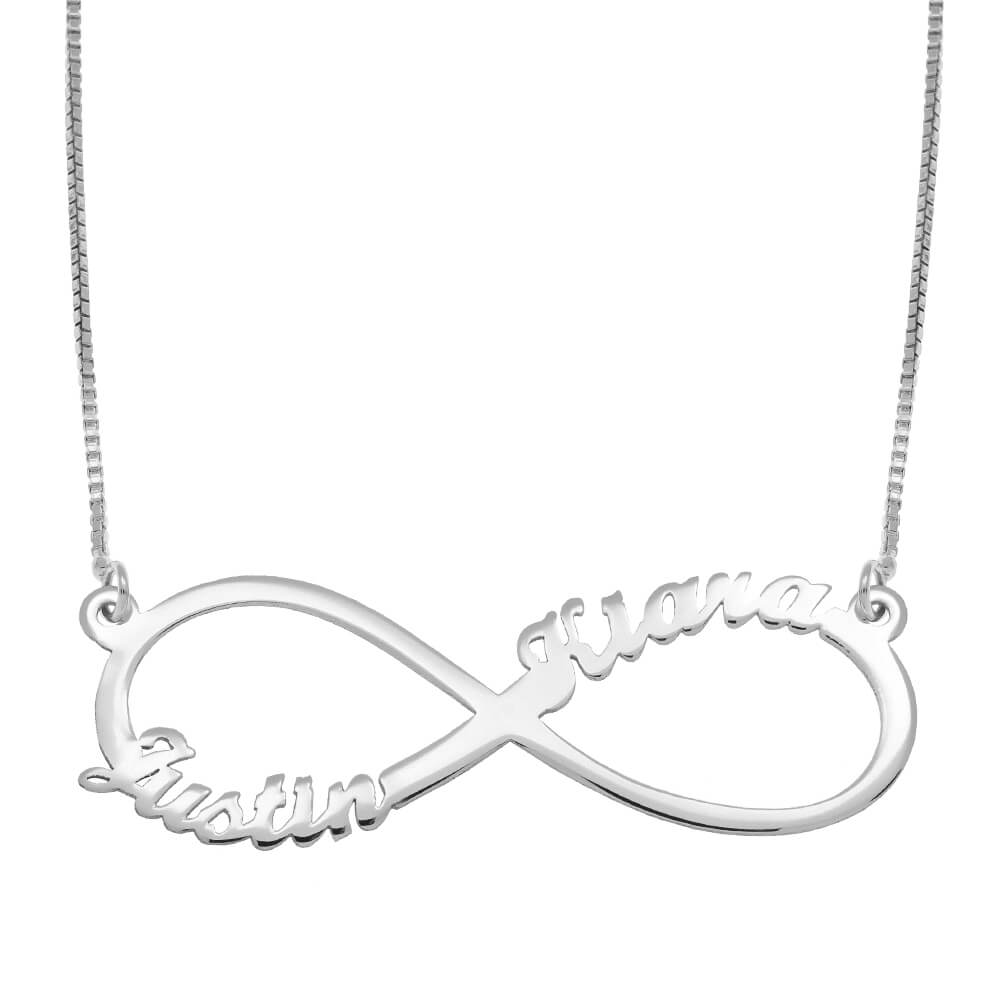 Infinity 2 Names Necklace silver