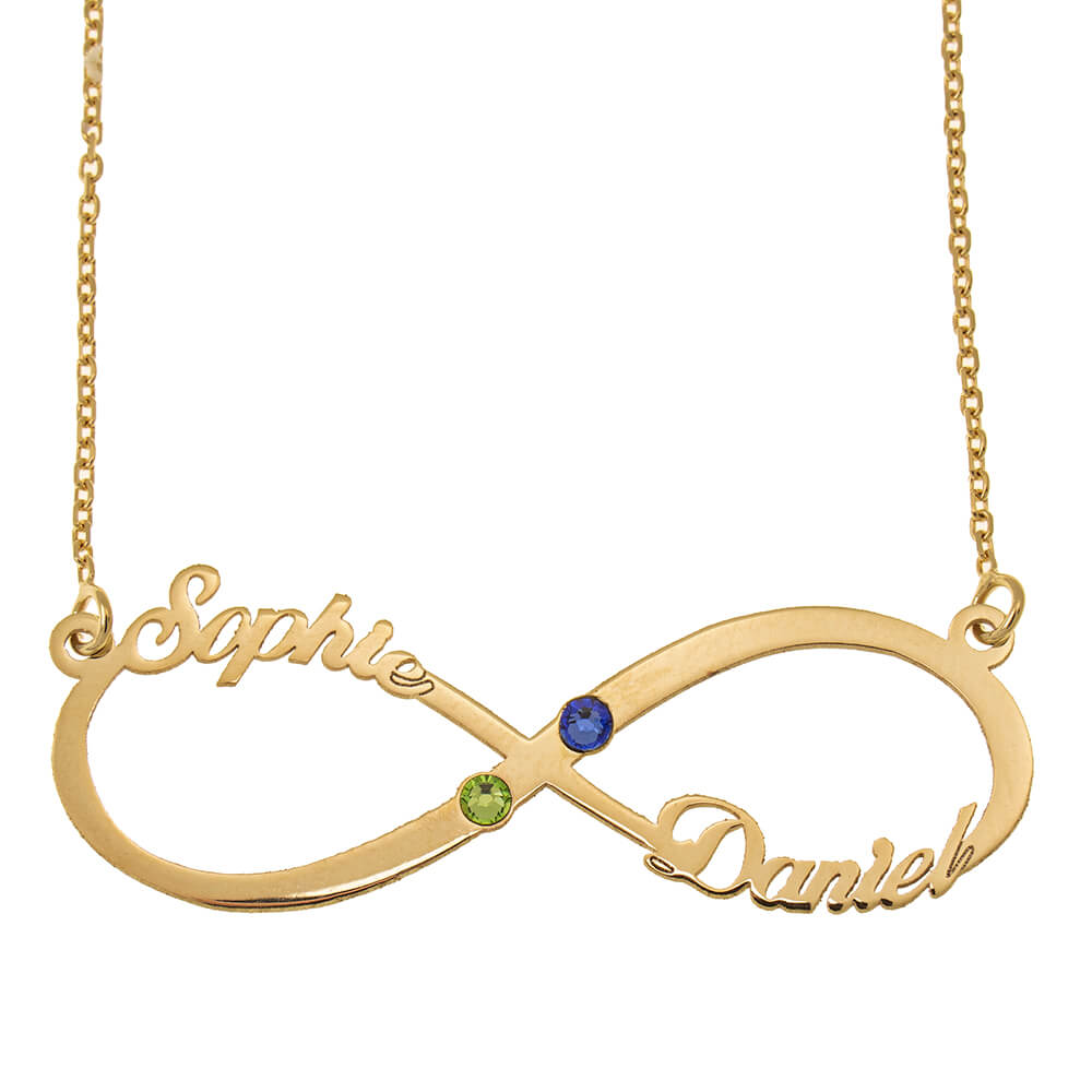 Infinity Cut Out Name Necklace with Birthstones gold