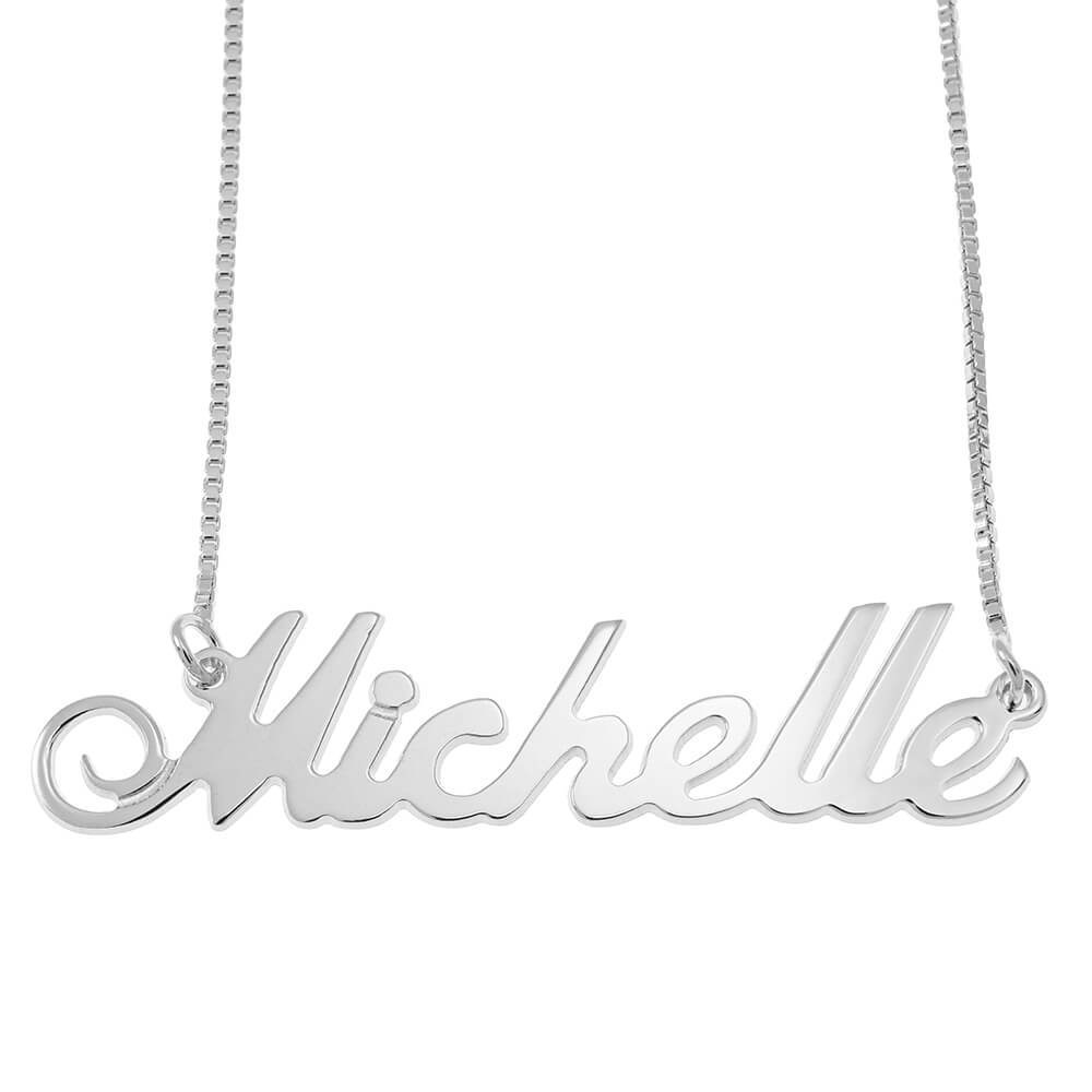 Small Justin Classic Name Necklace with Box Chain silver