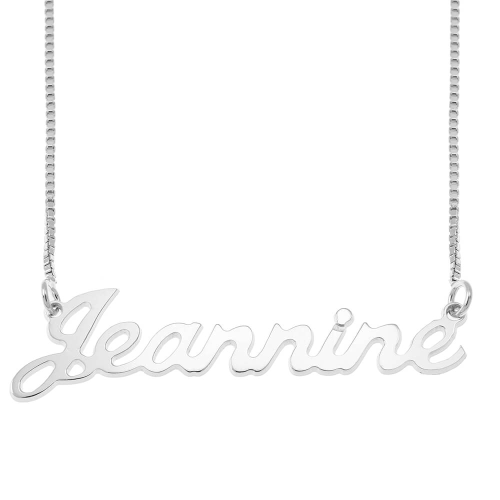 Small Justin Style Name Necklace with Box Chain silver