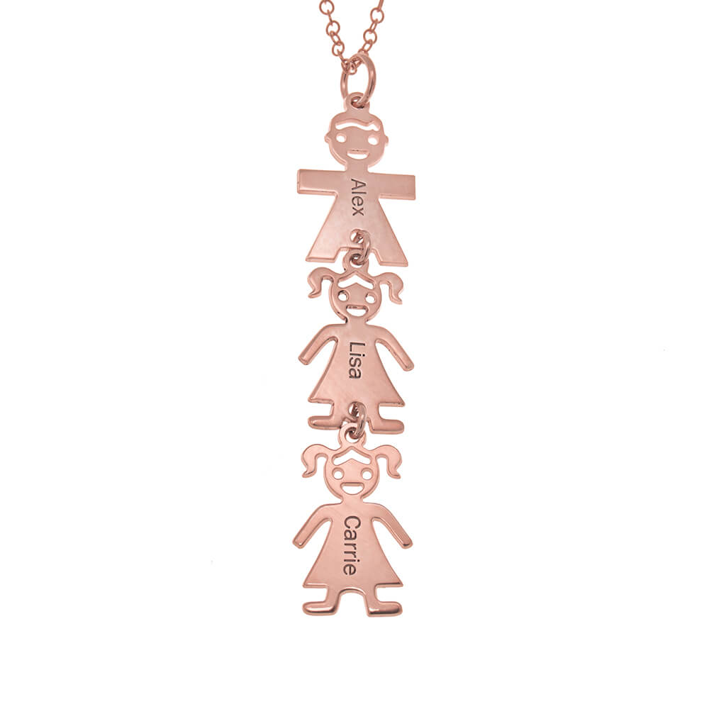 Vertical Mother's Necklace with Kids rose gold
